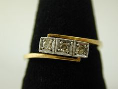 DIAMOND TRILOGY TWIST RING ART DECO 18CT GOLD SIZE K 1/2 0.06 CARATS