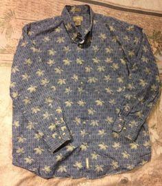 @@ Mens NATURAL ISSUE Button Front Shirt Wrinkle Free SZ XL Floral Blue Cotton   #NaturalIssue #ButtonFront