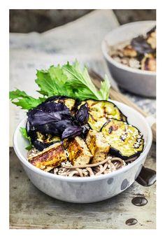 Vegan soba with tofu & eggplant