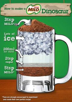 You know you are from Singapore.... when dinosaurs became a beverage... Milo Dinosaur, the recipe