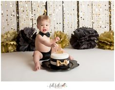 New Years Eve theme cake smash!  Gold & black theme. Handmade birthday hat, bow tie & diaper cover.