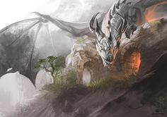 Ashy white dragon. He is only smiling... by AlectorFencer on DeviantArt