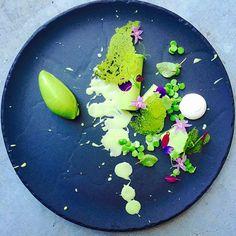 Chef Czarnecki Gregory Textures of peas panna cotta, anglaise, mousse, paper, sorbet . Truffled buttermilk