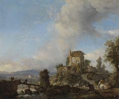Philips Wouwerman | Stag Hunt, Philips Wouwerman, 1650 - 1668 | Hertenjacht. Een hert wordt in een heuvelachtig landschap door jagers en honden gevangen. In het midden de ruïne van de abdij van Rijnsburg, links een houten brug over een watervalletje.