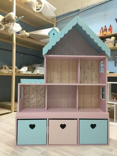Dollhouse shelf for 6 rooms with a narrow chest of drawers. Dollhouse shelf for 6 rooms with a narrow chest of drawers. Doll Furniture, Kids Furniture, Furniture Storage, Cheap Furniture, Furniture Removal, House Furniture, Furniture Design, Girl Room, Girls Bedroom
