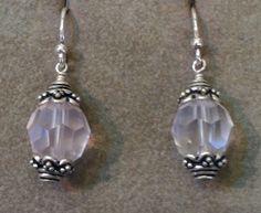 Rose quartz and sterling earrings