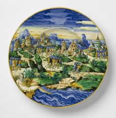Plate with Hannibal's Army Crossing the River Ebro, Workshop of Guido Durantino, Urbino, Italy, c. 1540-1560