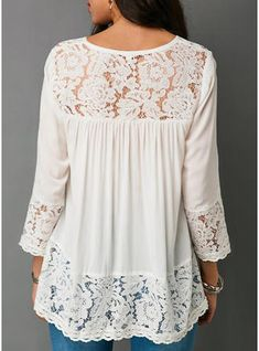2018 Summer Women Sexy V-neck Shirt Casual Long Sleeve Top Ladies Fashion Solid Color Loose T-shirts Lace Chiffion Blouse Women Clothing Plus Size Tops Elisa Cavaletti, Cotton Blouses, White Blouses, Lace Blouses, White Lace Blouse, Blouse Dress, Mode Outfits, Lace Tops, Plus Size Tops