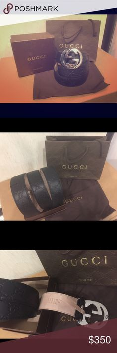 New black Gucci signature supreme Leather belt!! This is the official 100% New Authentic Gucci black signature supreme. Has a shiny silver buckle. Comes in multiple sizes that'll fit you nicely. Comes with a dust bag, original tags attached, and a Gucci box. Ships out within 24 hours of payment, message me for other sizes and more inquiries. Gucci Accessories Belts