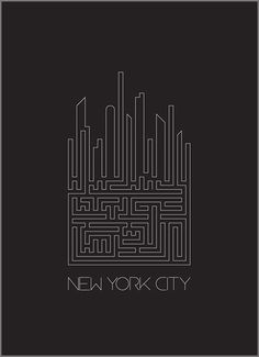 When I saw this it made me think of all the crazy underground tunnels The Big Apple must have. This is truly a beautiful illustration of NYC in the most perfect way. designer is unknown. #maze #labyrinth #NYC