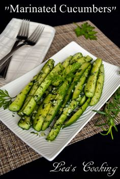 "Lea's Cooking: ""Quick Marinated Cucumbers"" These cucumbers make a cool summer side dish. Ready in 30 min or less.Refreshing cucumbers are always a hit when served with grilled meat."