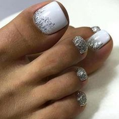 How To Nail Art At Home. Making the appropriate manicure and nail art design isn't only about coloration or pattern. Gel Toe Nails, Feet Nails, Toe Nail Art, Manicure And Pedicure, My Nails, White Pedicure, Acrylic Nails, Glitter Toe Nails, Gel Toes