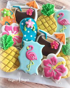 So pleased how these turned out ❤ Hawaiian Cookies, Luau Cookies, Pineapple Cookies, Summer Cookies, Fancy Cookies, Iced Cookies, Birthday Cookies, Custom Cookies, Royal Icing Cookies
