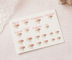 Dollhouse Miniature Decals Kitchen Canister Labels Set 3