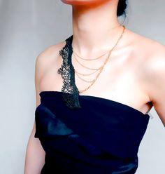 statement necklace // black gold lace necklace // by LaceFancy