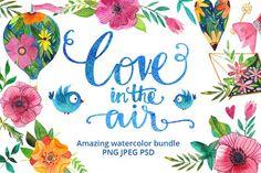 Love in the air - watercolor bundle from DesignBundles.net
