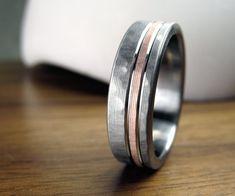 Men's Wedding Band Titanium & Rose Gold Hammered by spexton