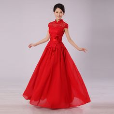 Cheongsam Dress-Chinese Wedding Dress   --love capsleeves!