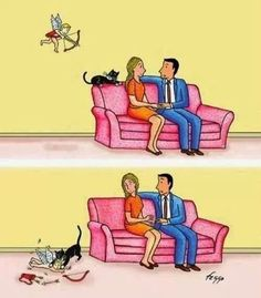 """Why people with cats never find true love"". Well that explains it."
