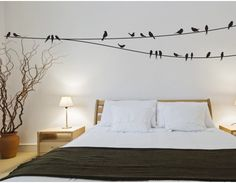 Transform any blank wall with this designer looking Birds on a Wire Wall Decals kit in 20 colours, allowing you to match most colour schemes.  You can spreadthe wire around your room, which gives you the flexibility to place them side by side to make it one super long wire or overlap/link them depending on your space. Then stick the birds over the top to make a lovely relaxing scene.