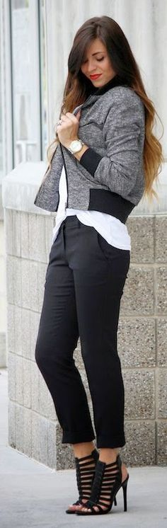 Just a Pretty Style: Street style black and grey bomber jacket