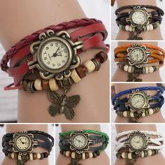 Reloj De Pulsera Mujer Cuero Abalorios Cuarzo Brazalete Mariposa Vintage Watch es.picclick.com