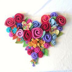 Heart Felted Flowers