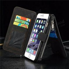 PU Leather Case Flip Wallet Card Bag Case Phone Cover For Apple iPhone 6 6s Plus Sale - Banggood.com