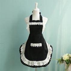 French Style Black/white Lace Kitchen Apron Fashion Women Cooking Maid Apron Cafe Waiter Apron Princess Stylish Bib With Pocket
