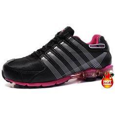07a0b4a3e95d9d Womens Nike Shox R4 Black White Pink Cushion5 Nike Shox Nz