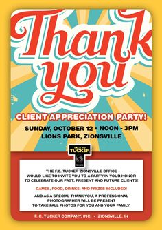 We want to say a huge thanks for helping us have our best year ever in real estate! Join us on Sunday, October 12th from 12:00 to 3:00, at Lions Park in #Zionsville for a fun afternoon of food, games, and prizes! In addition, the Zionsville Fire Department will be there to entertain your kids and we will have a professional photographer on site for a free family Fall photo!