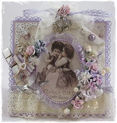 "Vintage card created by LLC DT Member Tracy Payne, using papers and image from Pion Design's ""Alma's Sewing Room"" collection."