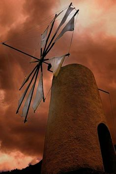 Windmill in Lasithi, Crete, Greece