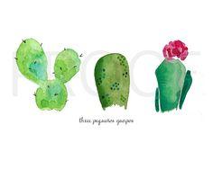 3 Pequenos Guapos || Cacti Watercolors || Cactus Art