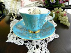 Blue Queen Anne Teacup Tea Cup and Saucer  #VintageKeepsakes