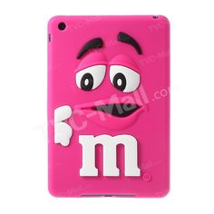 Cute M&Ms Bean Candy Smell Silicon Gel Case for iPad Mini - Magenta