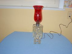 VINTAGE ELECTRIC CRYSTAL GLASS TABLE LAMP W/RED GLASS GLOBE. FOR SALE IN MY BLUJAY STORE. http://www.blujay.com/?page=ad&adid=3140928&cat=11120000