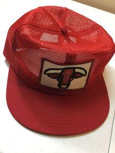 6caf2777861 K Products Trucker Hat Red Steer Flat Bill Adjustable