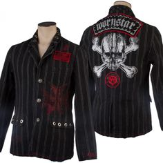 One of a kind custom lined, fitted jacket. This jacket is hand dyed, hand sewn, and embellished with Wornstar embroidered and hand printed patches. It's overprinted with Wornstar graphics and studded with hardware.