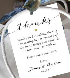 Wedding Welcome Bag Tag SET OF 10 Script Thank You Gift | Etsy