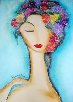 Dreaming Woman By Ruaa Al Bazirgan- Roses Speak with Light Soul Art, Art For Art Sake, Art Journal Inspiration, Whimsical Art, Face Art, Collage Art, Art Photography, Art Gallery, Illustration Art