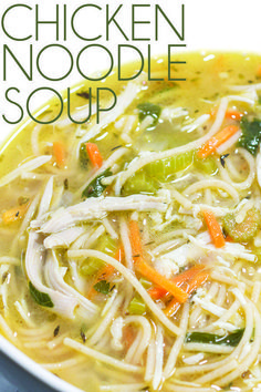 There is nothing like a big bowl of warm chicken noodle soup on a cold day. This one is packed with flavor and is nice and hearty. #soup #winterfood #chickensoup #sickfood #noodlesoup #vegteablesoup