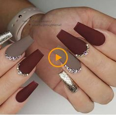 ✔ most sexy and trendy prom and wedding acrylic nails and matte nails for this season 24 🌰🍁🍂 Matte Maroon Red and Taupe with Gold Glitter and Crystals on long Coffin Nails 👌 Wedding Acrylic Nails, Fall Acrylic Nails, Fall Nail Art, Acrylic Nail Designs, Christmas Acrylic Nails, Acrylic Nails Coffin Matte, Maroon Nail Designs, Fall Nail Designs, Stylish Nails