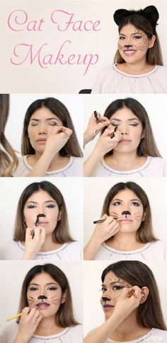DIY cat makeup tutorial perfect for Halloween or any costume party you havve coming up. Using liquid eye liner, you can recreate this sexy and sophisticated look at home! Video and step-by-step photos (Beauty Face Makeup) Cat Makeup For Kids, Cat Face Makeup, Simple Cat Makeup, Cat Costume Makeup, Sexy Cat Costume, Party Makeup, Cat Costume Kids, Cat Face Halloween, Halloween Makeup Clown