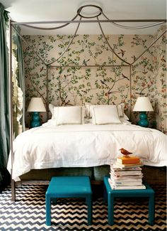 Gorgeous wallpaper - almost looks like a hand-painted mural.