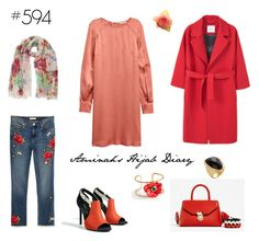 """#594 Melone Red"" by aminahs-hijab-diary ❤ liked on Polyvore featuring MANGO, Talbots and Rivka Friedman"