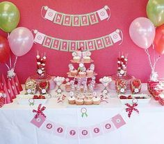 berrylicious cake table for a strawberry shortcake party
