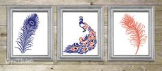 Digital print Peacock art Navy blue & Coral Feather wall decor Living room wall art Modern home decor 8x10 Set gift for mom. $27.00, via Etsy.