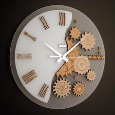 Modern Wall Clocks | Mekkanico 052 Modern Round Wall Clock in natural color