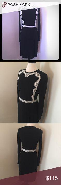 Tory Burch Dress Sz. S Overall excellent condition, one or two minor flaws in the stitching at the waist area, but only noticeable if you look up close.  I posted a pic above.     Zips to close in the back. 100% rayon. Length: 38 inches.  Waist: 30 inches. Bust: 34 inches. Tory Burch Dresses Midi